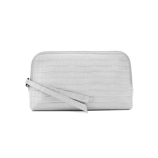 Small Essential Cosmetic Case in Deep Shine Dove Grey Small Croc from Aspinal of London