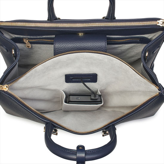 Madison Tote in Navy Pebble from Aspinal of London