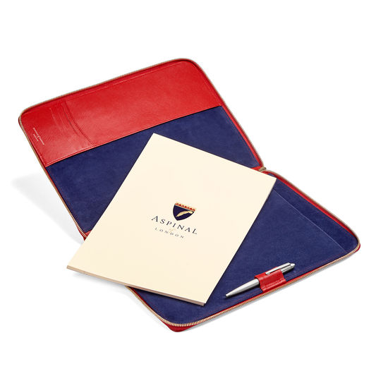 Executive A4 Zipped Padfolio in Scarlet Saffiano from Aspinal of London
