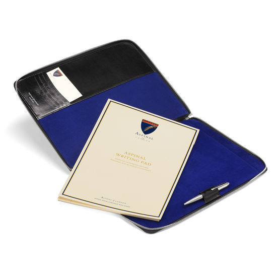 Executive A4 Zipped Padfolio in Smooth Black & Cobalt Suede from Aspinal of London