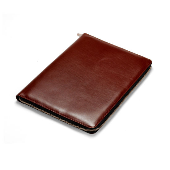 Executive A4 Zipped Padfolio in Smooth Cognac & Espresso Suede from Aspinal of London