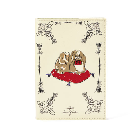 Pekingese Dog A5 Refillable Notebook in Ivory Saffiano from Aspinal of London