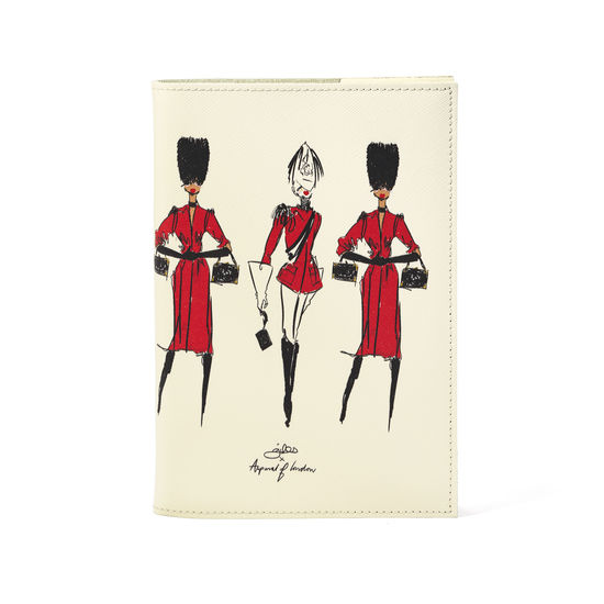 Guard Girls A5 Refillable Notebook in Ivory Saffiano from Aspinal of London
