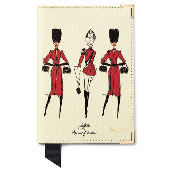 Guard Girls Passport Cover in Ivory Saffiano from Aspinal of London