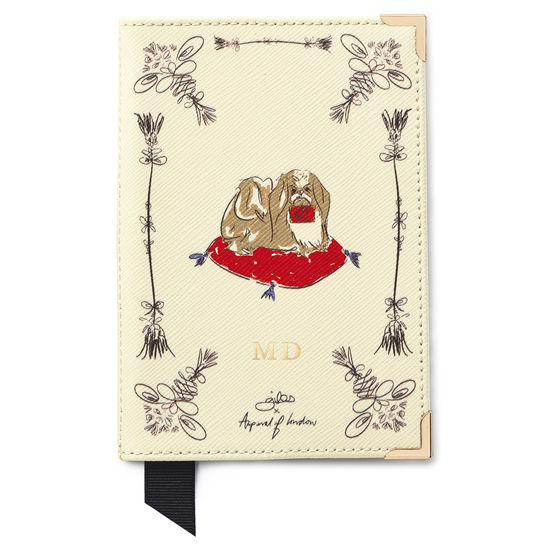 Pekingese Dog Passport Cover in Ivory Saffiano from Aspinal of London