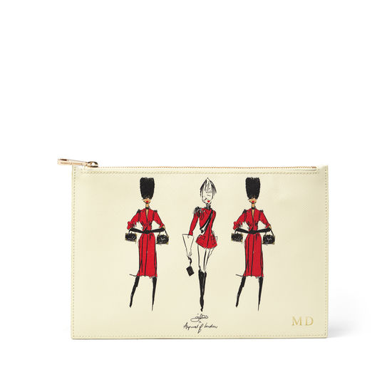 Guard Girls Large Essential Flat Pouch in Ivory Saffiano from Aspinal of London