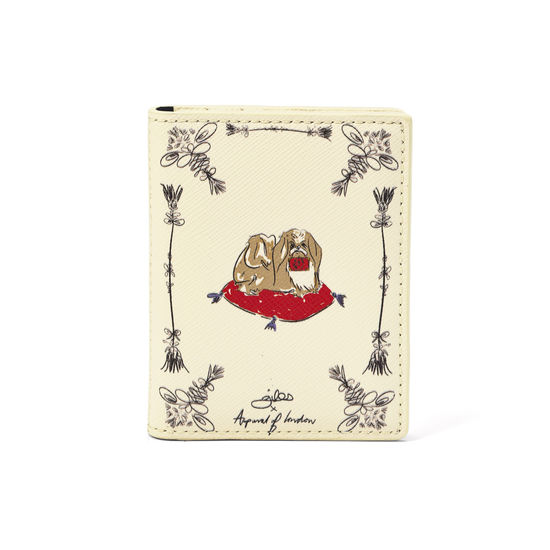 Pekingese Dog ID & Travel Card Case in Ivory Saffiano from Aspinal of London
