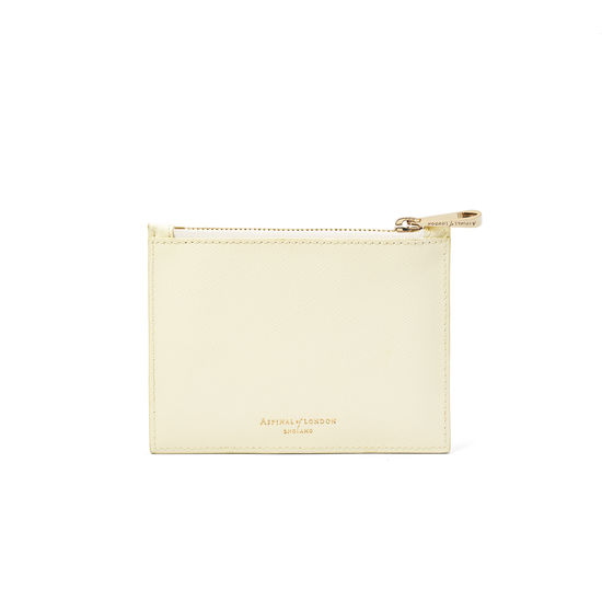 Pekingese Dog Small Pouch in Ivory Saffiano from Aspinal of London