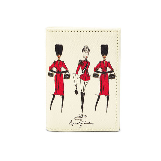 Guard Girls Double Fold Credit Card Holder in Ivory Saffiano from Aspinal of London