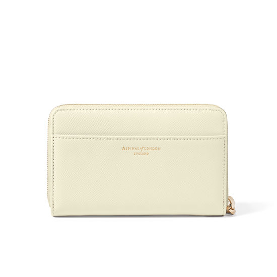 Pekingese Dog Midi Continental Wallet with Wrist Strap in Ivory Saffiano from Aspinal of London
