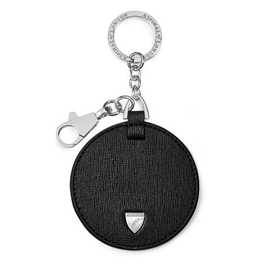 Disc Keyring in Black Saffiano from Aspinal of London