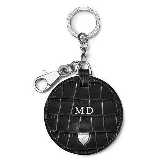 Disc Keyring in Deep Shine Black Small Croc from Aspinal of London