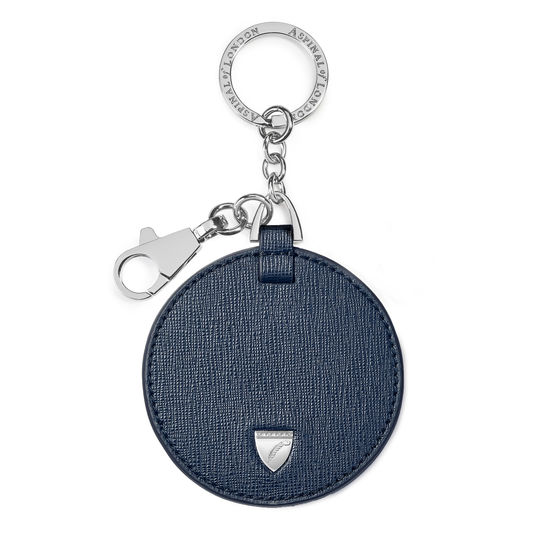 Disc Keyring in Navy Saffiano from Aspinal of London