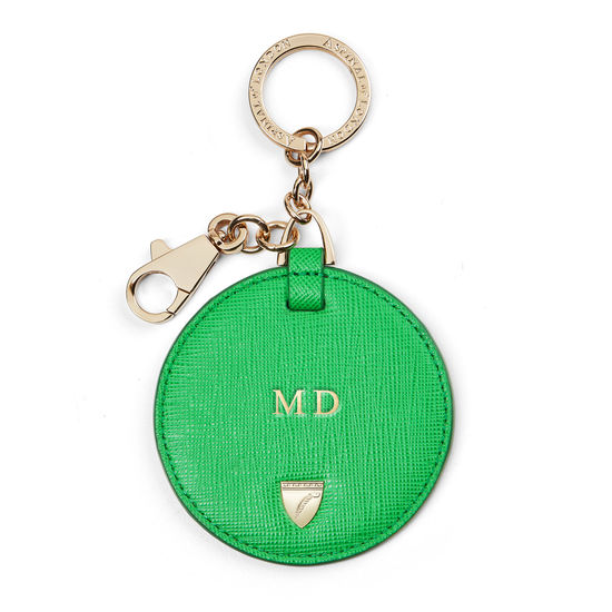 Disc Keyring in Bright Green Saffiano from Aspinal of London