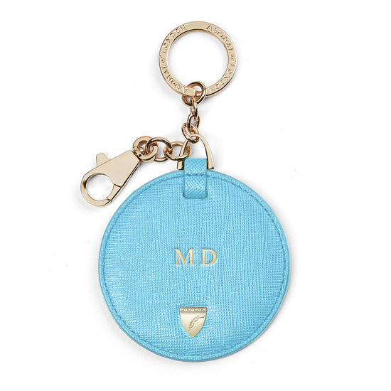 Disc Keyring in Bright Blue Saffiano from Aspinal of London