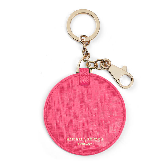 Disc Keyring in Bright Pink Saffiano from Aspinal of London