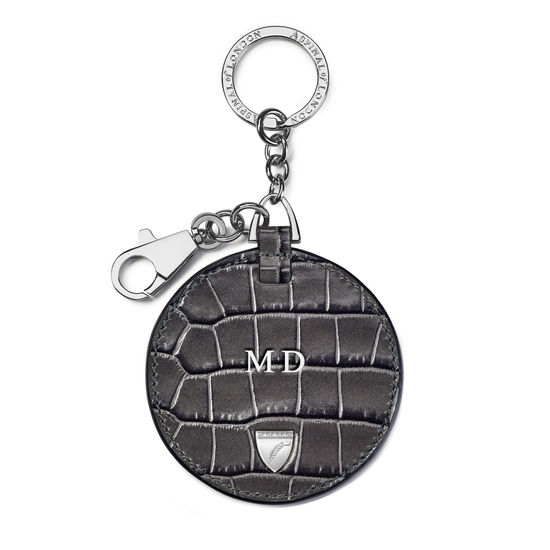 Disc Keyring in Deep Shine Grey Small Croc from Aspinal of London