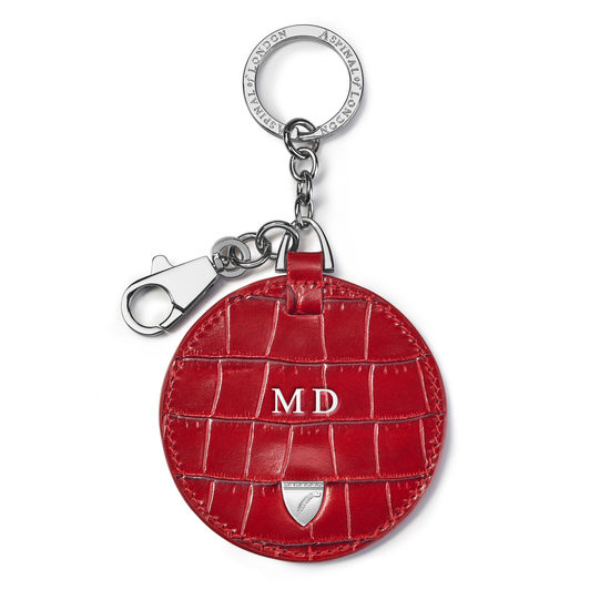 Disc Keyring in Deep Shine Red Small Croc from Aspinal of London