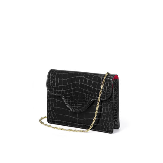Small Ava Bag in Black Patent Croc from Aspinal of London