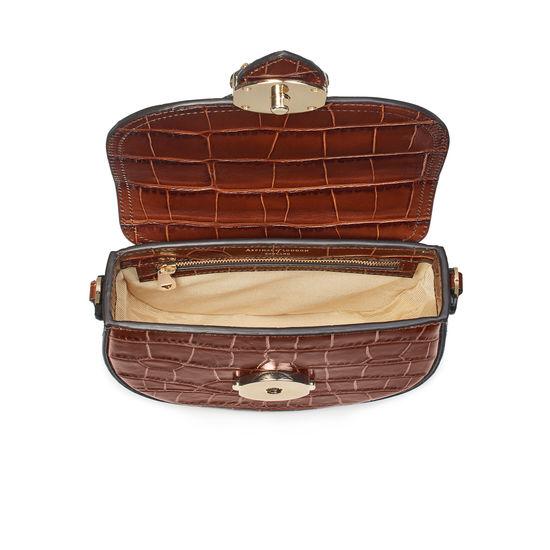 Equestrian Portobello Bag in Deep Shine Brown Soft Croc from Aspinal of London