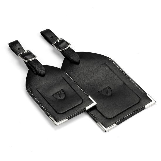 Set of 2 Luggage Tags in Smooth Black from Aspinal of London