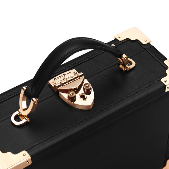 Mini Trunk Clutch in Smooth Black with Patches from Aspinal of London