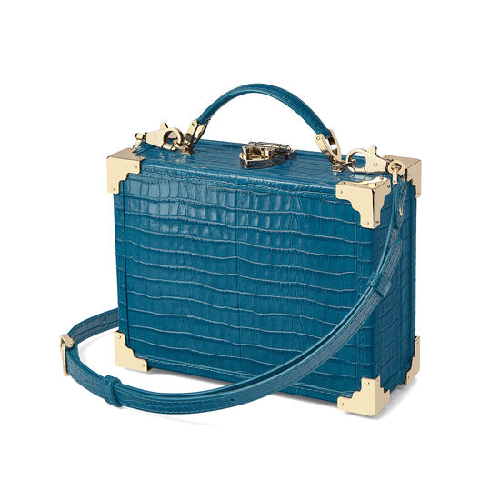Mini Trunk Clutch in Deep Shine Topaz Small Croc from Aspinal of London