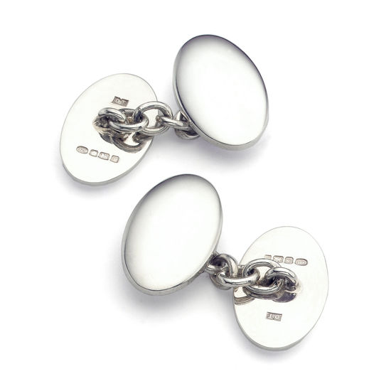 Classic Double Domed Sterling Silver Cufflinks from Aspinal of London