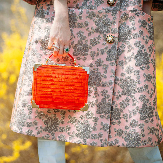 Mini Trunk Clutch in Deep Shine Orange Small Croc from Aspinal of London
