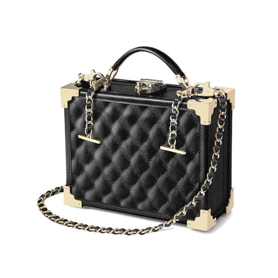 Mini Trunk Clutch in Black Quilted Kaviar from Aspinal of London