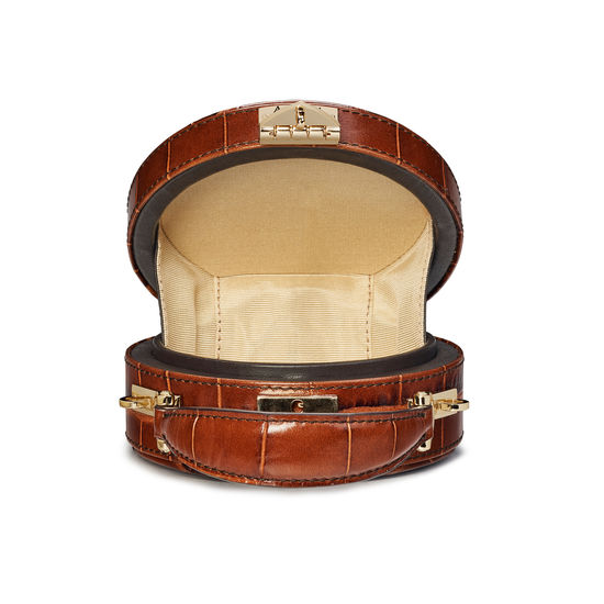 Equestrian Micro Hat Box in Deep Shine Brown Soft Croc from Aspinal of London