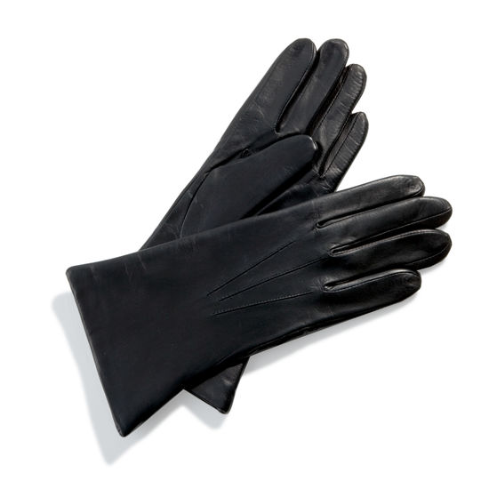 Ladies' Cashmere Lined Leather Gloves in Black from Aspinal of London