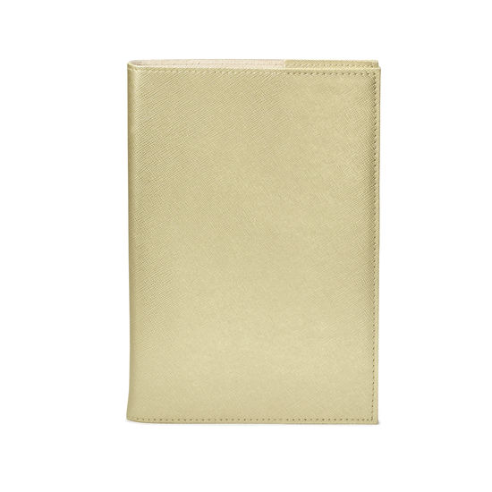 A5 Refillable Leather Journal in Gold Saffiano from Aspinal of London