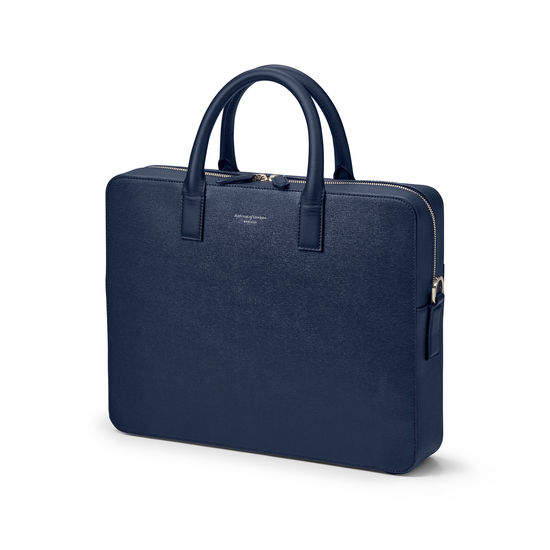 Slim Mount Street Bag in Navy Saffiano from Aspinal of London