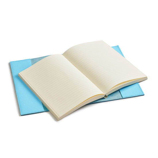 A5 Refillable Leather Journal in Bright Blue Saffiano from Aspinal of London