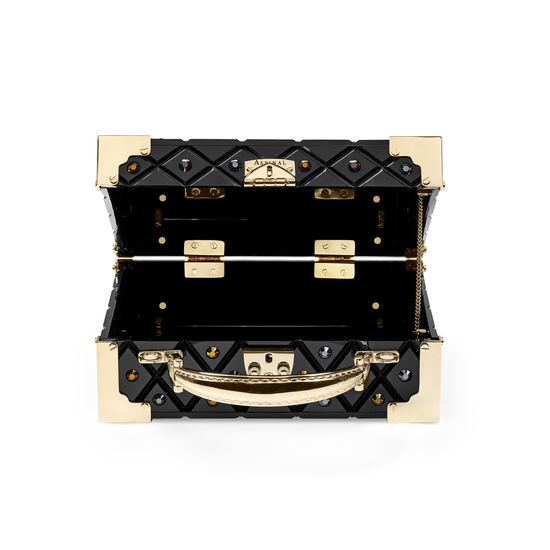Mini Trunk Clutch in Diamond Cut Black Acrylic with Jet Crystals from Aspinal of London