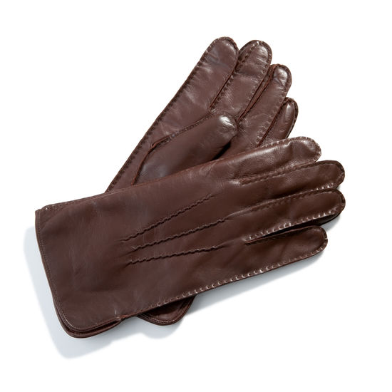 Men's Cashmere Lined Leather Gloves in Brown from Aspinal of London