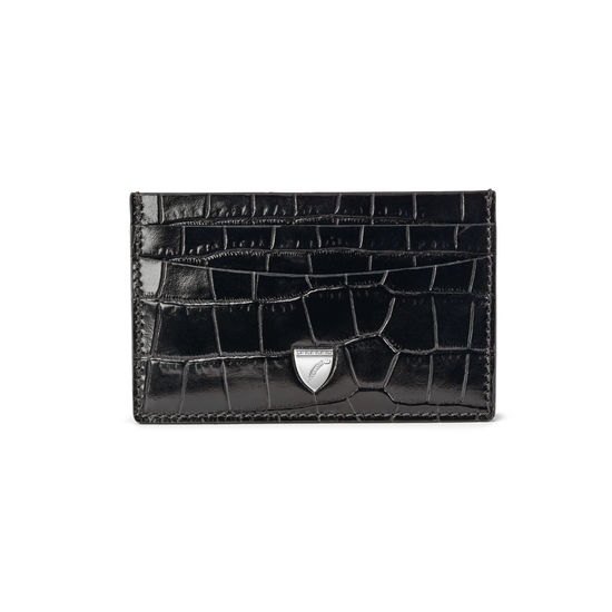Slim Credit Card Holder in Deep Shine Black Small Croc from Aspinal of London