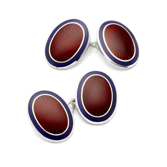 Lacquer Enamel Cufflinks in Navy & Red from Aspinal of London