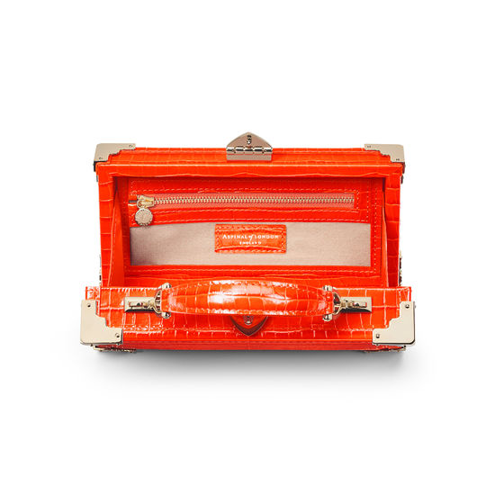Trinket Box in Deep Shine Orange Small Croc from Aspinal of London