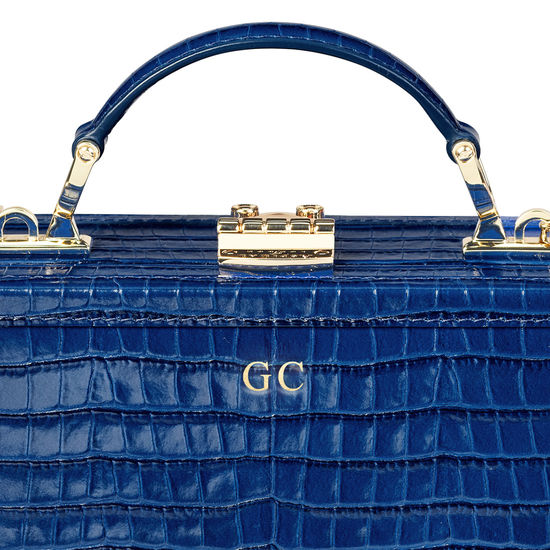 Mini Trunk Clutch in Deep Shine Blue Small Croc from Aspinal of London