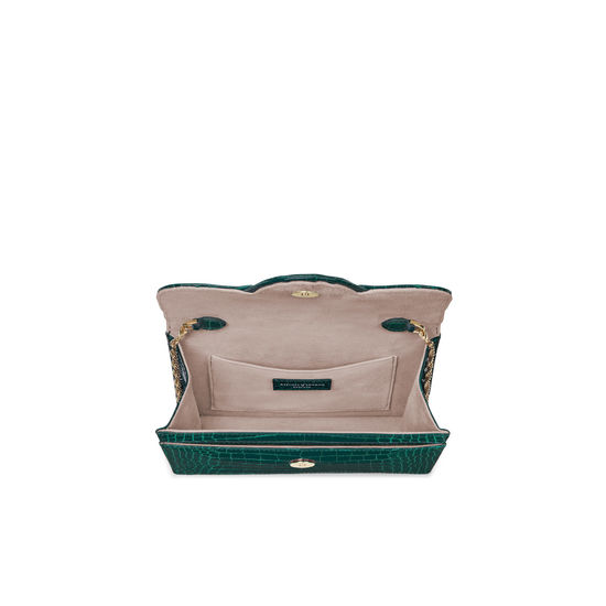 Small Ava Bag in Evergreen Patent Croc from Aspinal of London