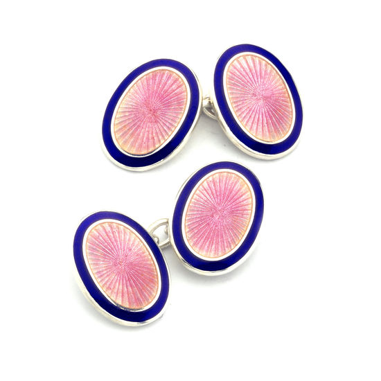 Lacquer Enamel Cufflinks in Navy & Pink from Aspinal of London