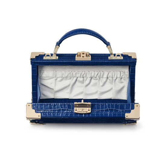 Trinket Box in Deep Shine Blue Small Croc from Aspinal of London