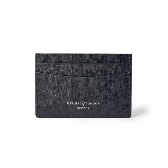 Slim Credit Card Holder in Black Saffiano from Aspinal of London