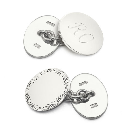 Sterling Silver Double Oval Engraved Edge Cufflinks from Aspinal of London
