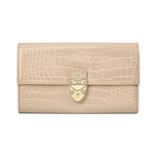 Mayfair Purse in Soft Taupe Patent Croc from Aspinal of London