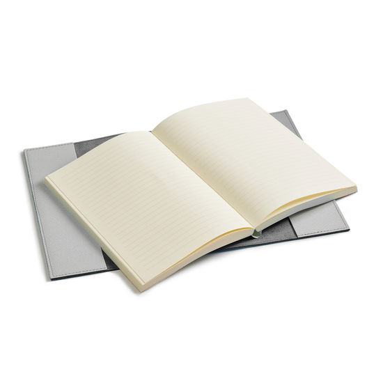 A5 Refillable Leather Journal in Light Grey Saffiano from Aspinal of London