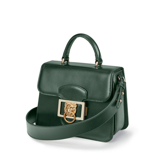 Small Lion Lansdowne Bag in Smooth Evergreen from Aspinal of London