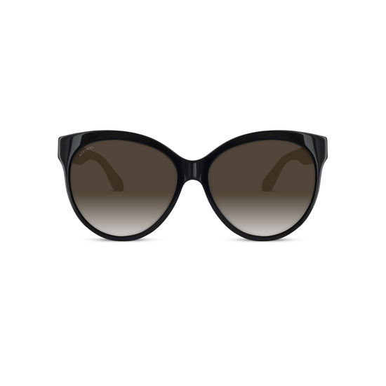 Verona Sunglasses in Black Acetate & Leather from Aspinal of London